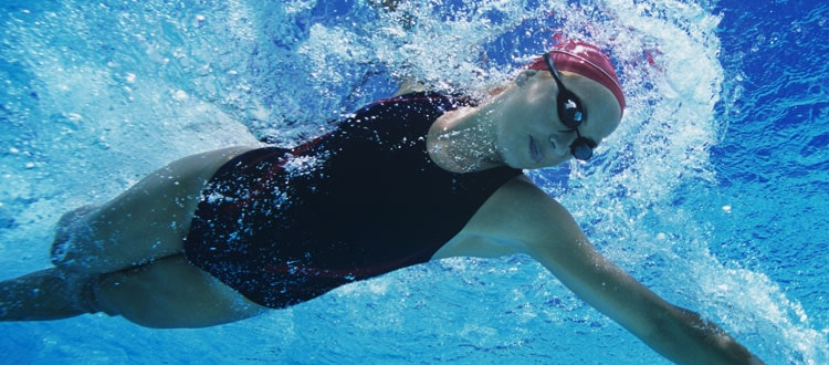 Swimmer Learning and Perfecting Her Stroke-in an Endless Pool in Pasadena, California