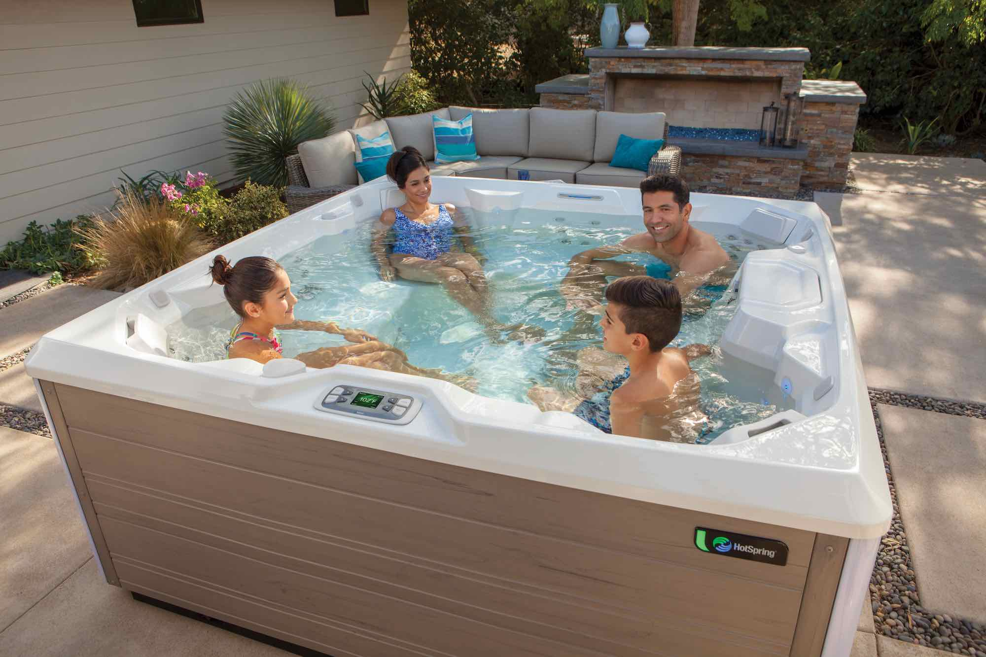 Hot Spring Spas Pulse Hot Tub at Lifestyle Outdoor in Los Angeles, California