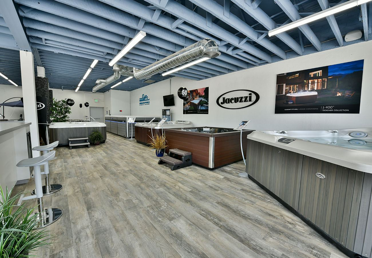 jacuzzi hot tubs on display in Lifestyle Outdoor Culver City showroom in Los Angeles