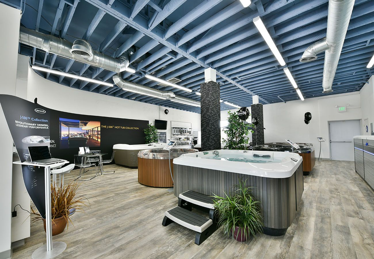 display of jacuzzi hot tubs in Lifestyle Outdoor Culver City showroom in Los Angeles