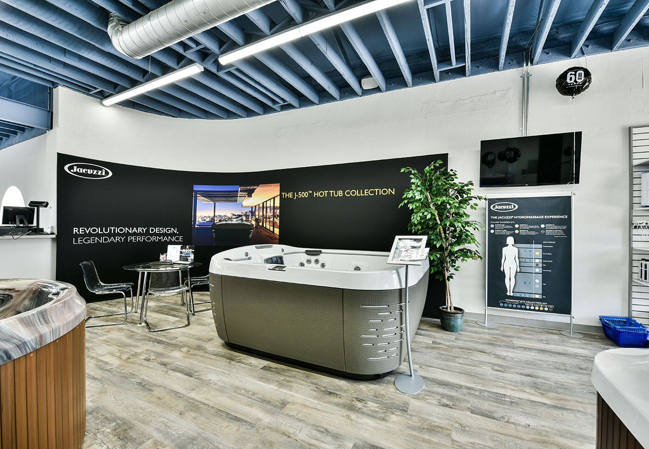 Jacuzzi Hot Tub on display in Lifestyle Outdoor Culver City showroom in Los Angeles