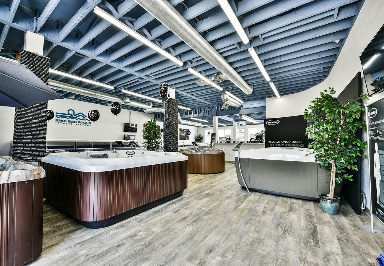 hot tubs and swim spas in Lifestyle Outdoor Culver City showroom in Los Angeles