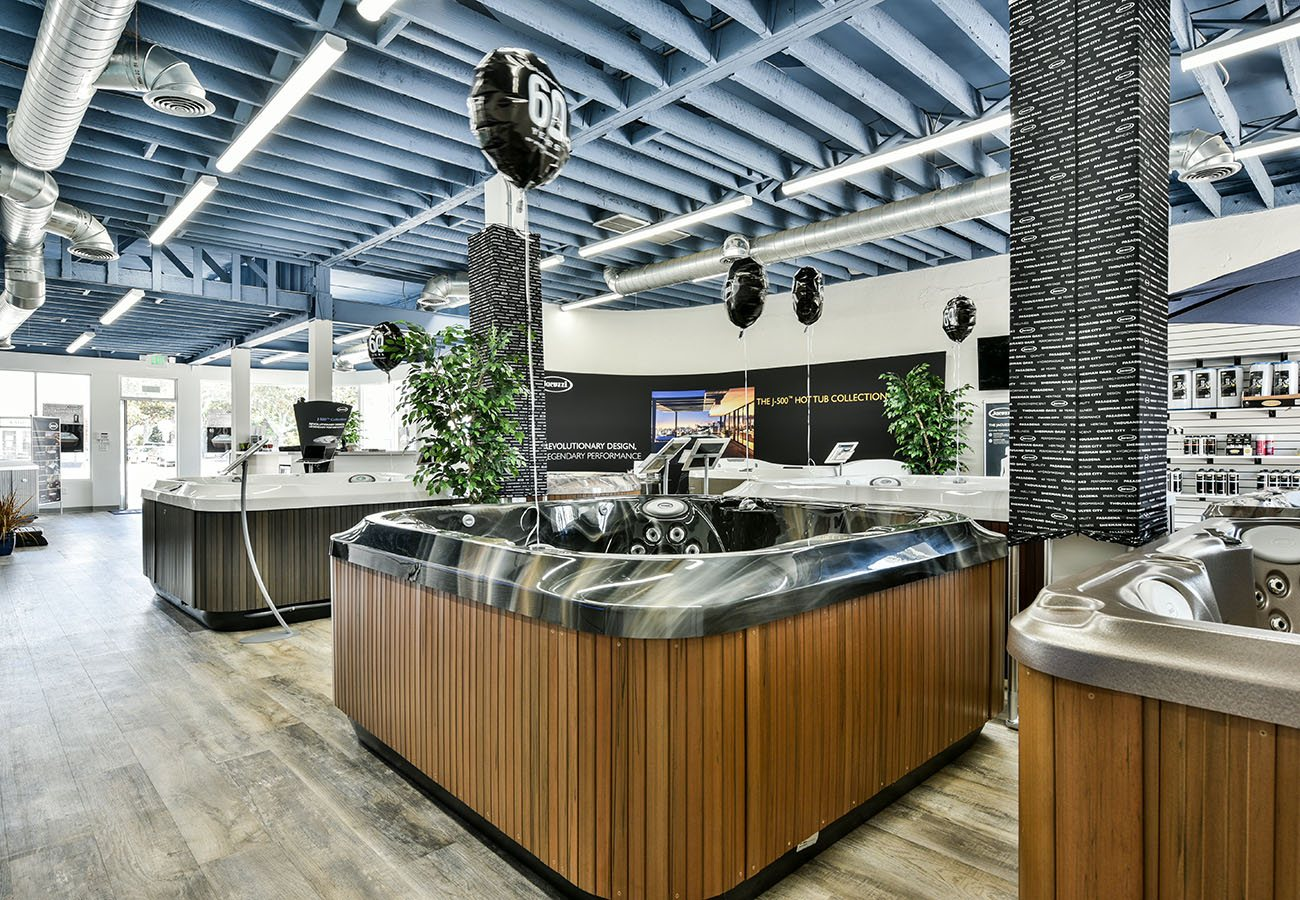 Jacuzzi Hot Tub models on display in Lifestyle Outdoor Culver City showroom in Los Angeles