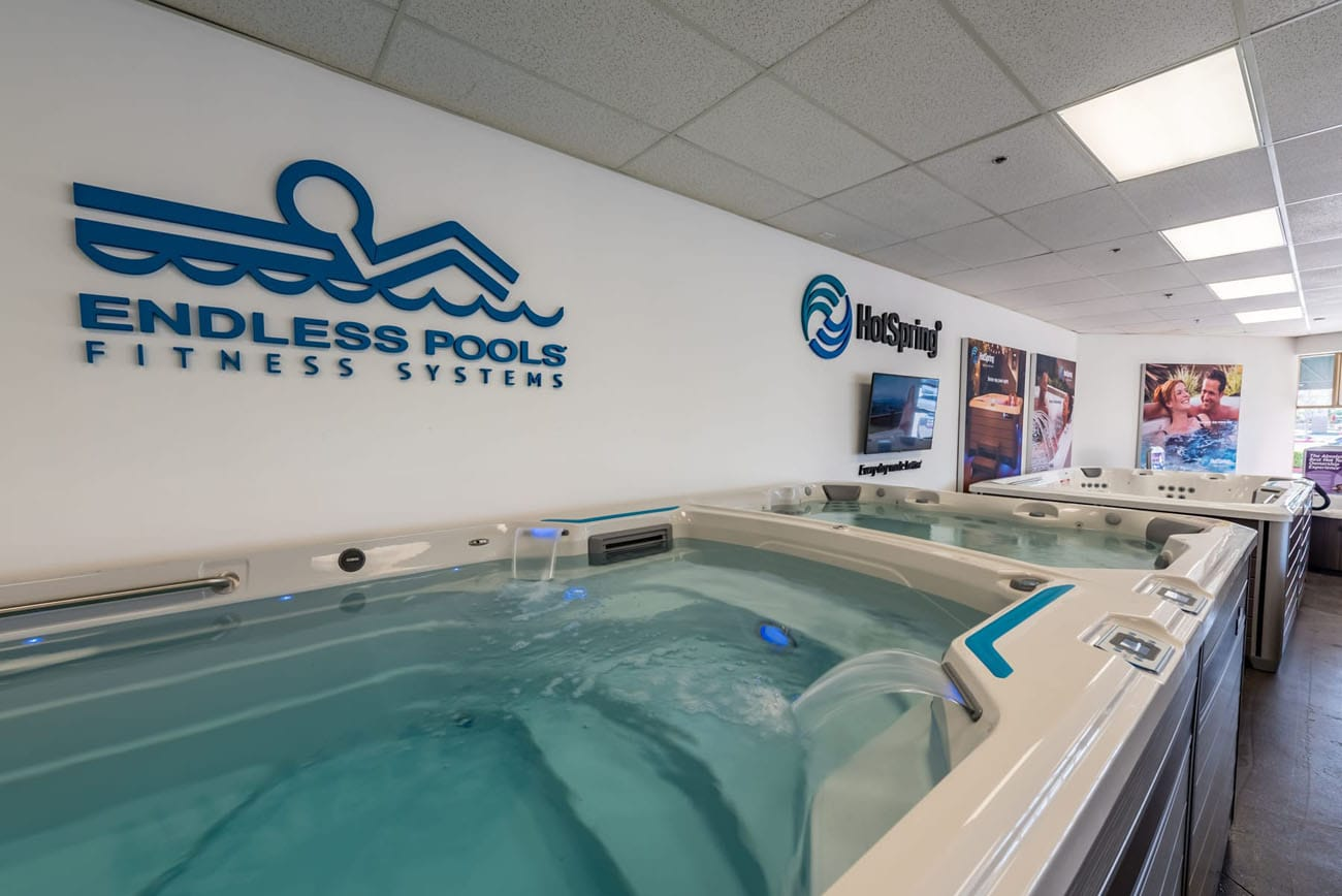 Lifestyle Outdoor Stevenson Ranch endless pools swim spa in showroom in Los Angeles