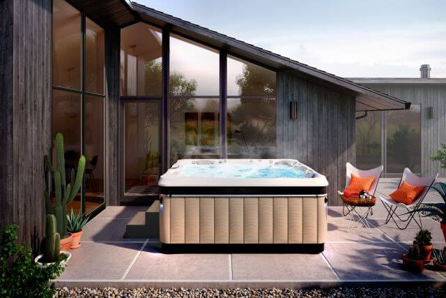 caldera spas hot tub in house backyard in Los Angeles, CA