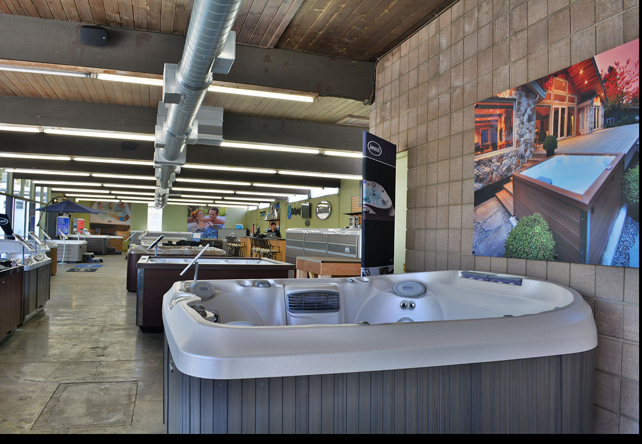 jacuzzi hot tubs on display in Lifestyle Outdoor Pasadena showroom in Los Angeles