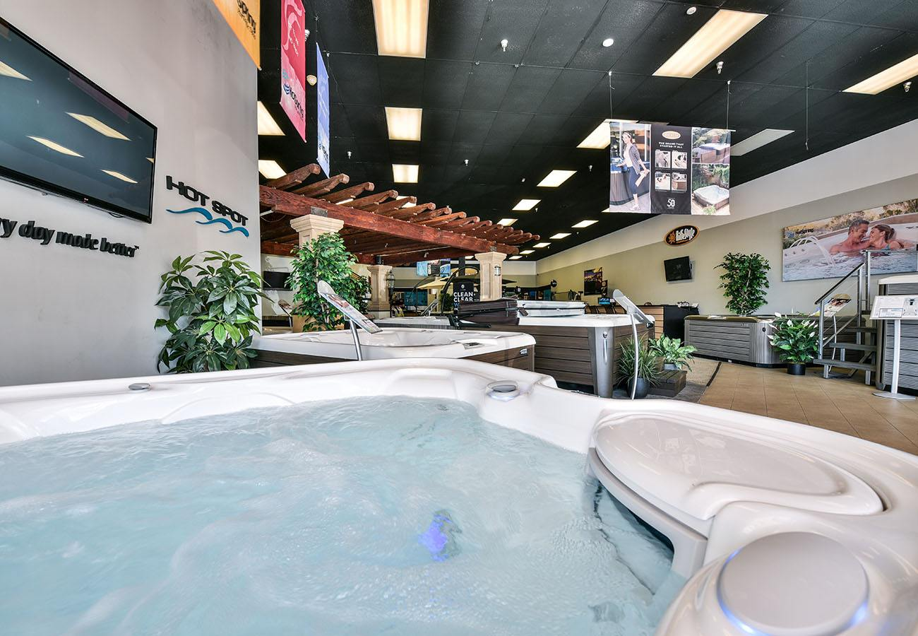 hot spring spas hot spot hot tub on display in Lifestyle Outdoor Sherman Oaks showroom in Los Angeles