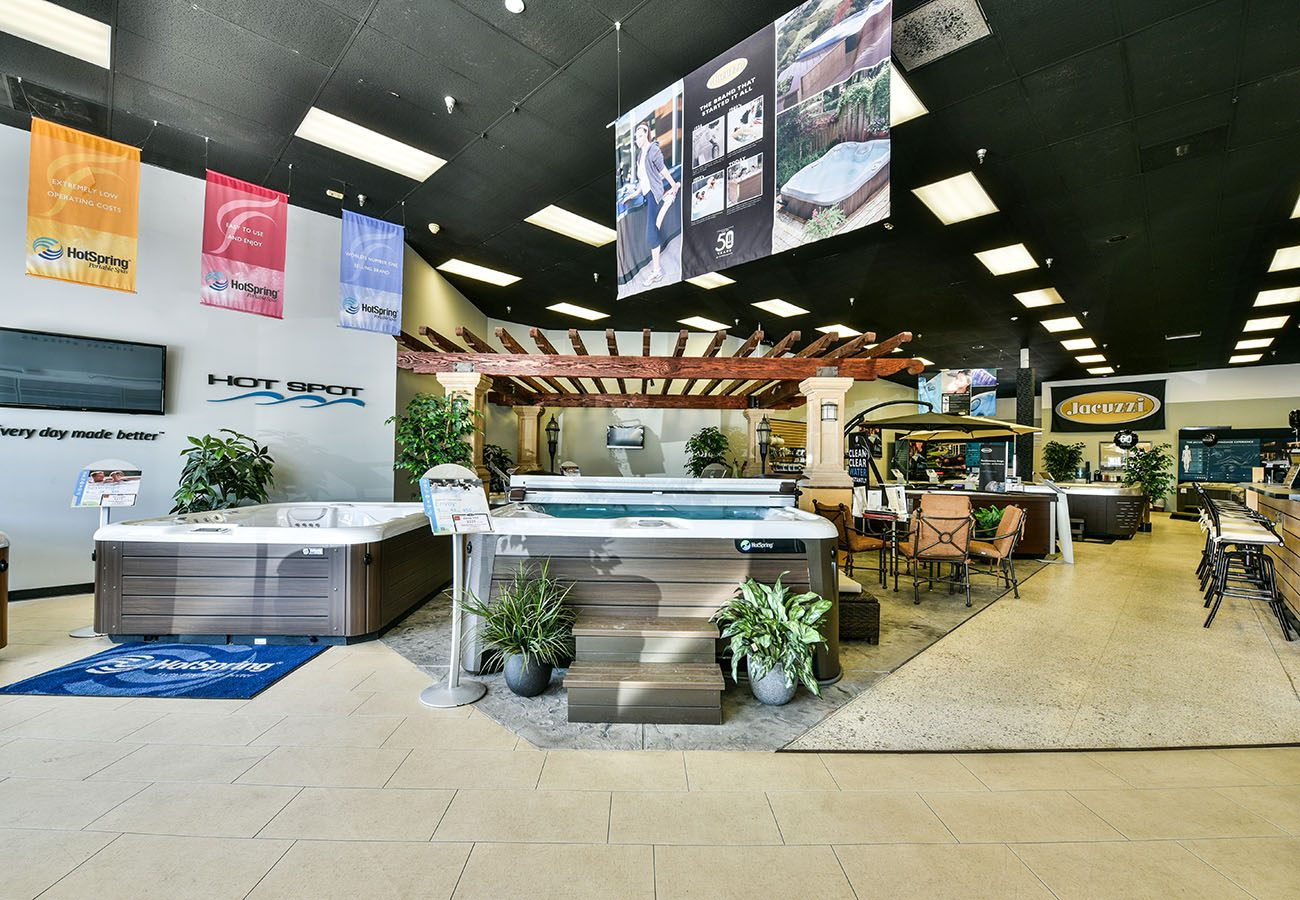Lifestyle Outdoor Sherman Oaks spa showroom Display of Jacuzzi with Gazebo in Los Angeles