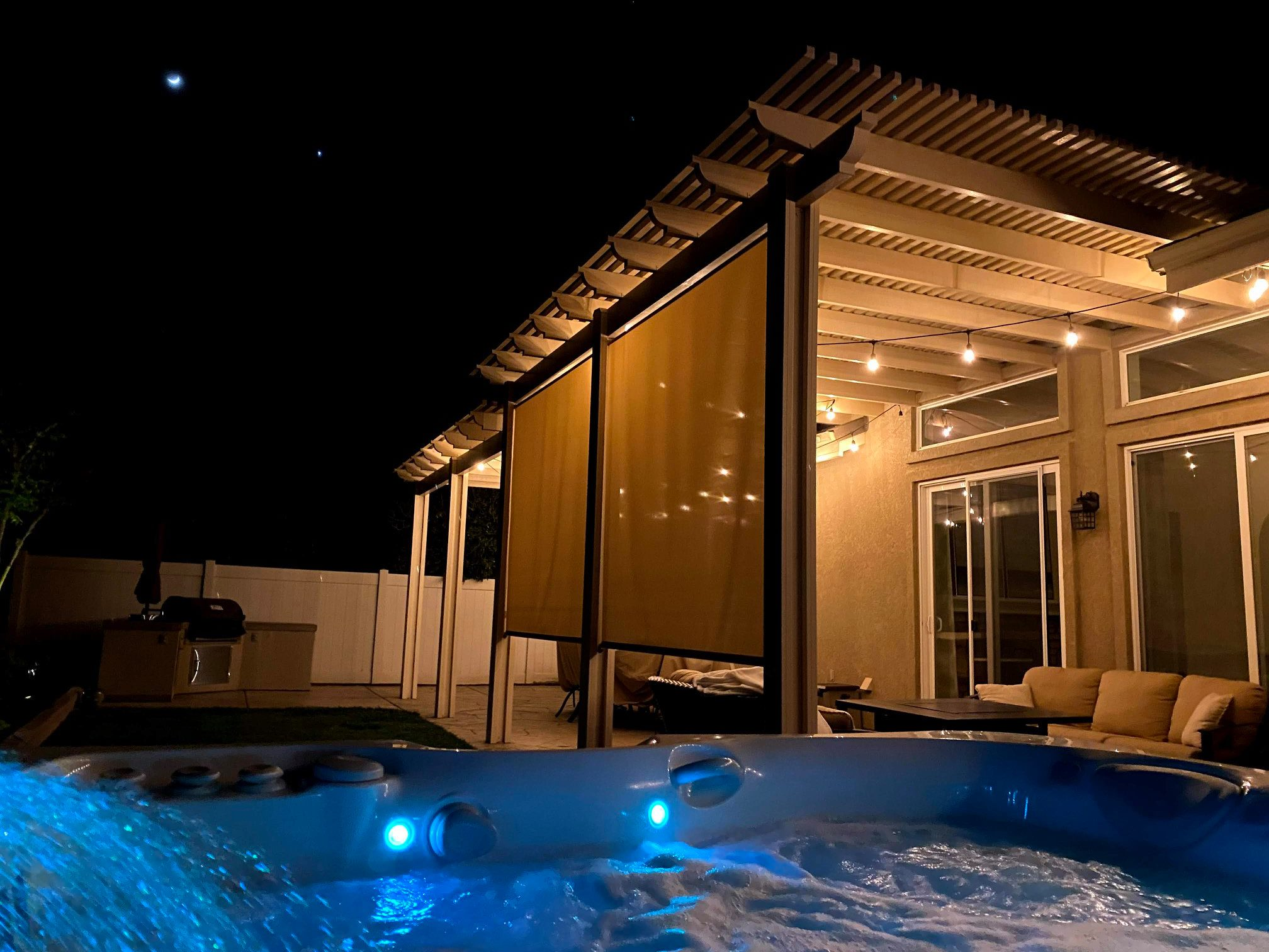 caldera hot tub in backyard at night in Los Angeles, CA