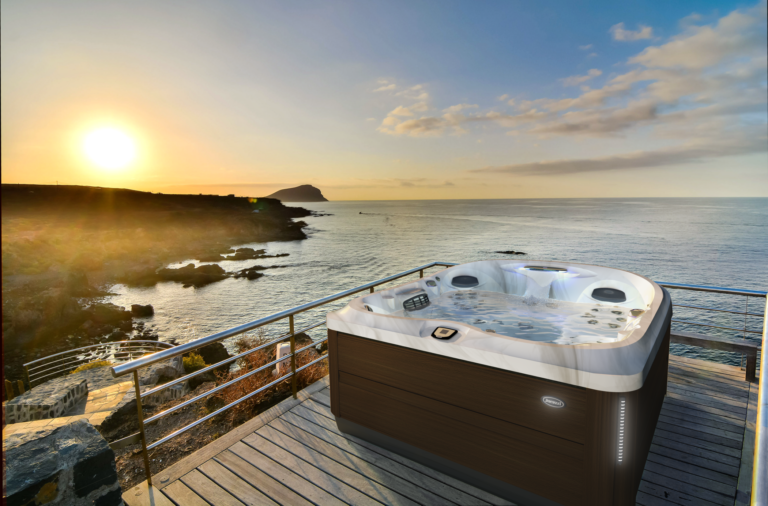 Jacuzzi Hot Tub installed by the water.