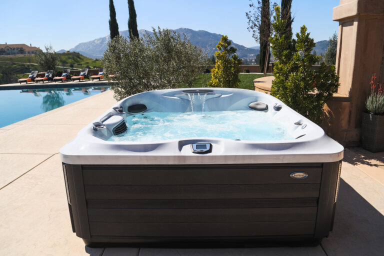 Clean outdoor spa installation with help from regular hot tub maintenance
